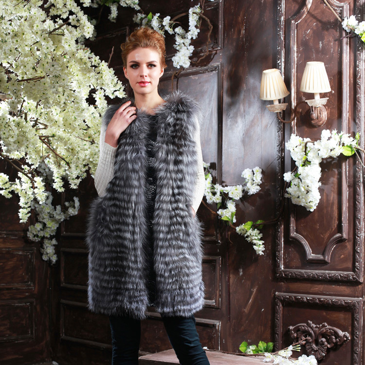 2016 Autumn Winter New Top Quality Branded Womens Long Slim Natural Silver Fox Fur Vest Gilets For Women Real Fox Fur OuterwearОдежда и ак�е��уары<br><br><br>Aliexpress