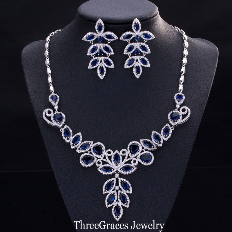 2017 Newest Bridal Imitated CZ Diamond Accessories Nigerian Royal Blue Necklace Costume Jewelry Sets Wedding Party JS157  -  ThreeGraces Outlet Store store