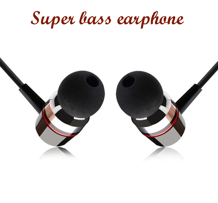 Freeshipping Super bass clear voice earphone Metal-Ear Headphones Mobile Computer MP3 Universal 3.5MM headphone amazing sound(China (Mainland))