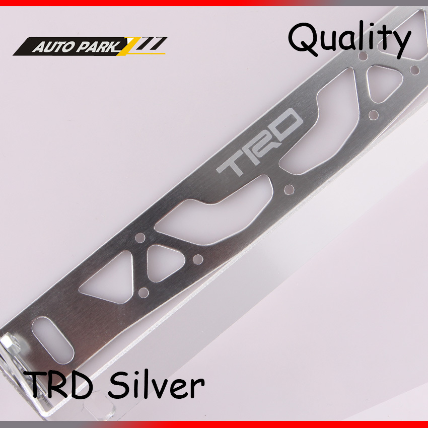 Wholesales trd logo auto adjustable Rotation aluminum license plate frame holder number plate silver(China (Mainland))