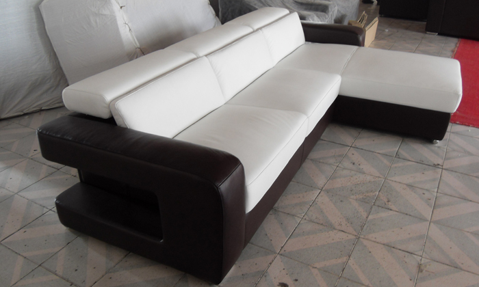 Small L Shaped Corner Genuine Leather Sofa LC9100-in Living Room Sofas ...