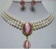 real jewelry Akoya Cultured pearl pink opal Earring Necklace Set AAA Silver Hook 5.6(China (Mainland))