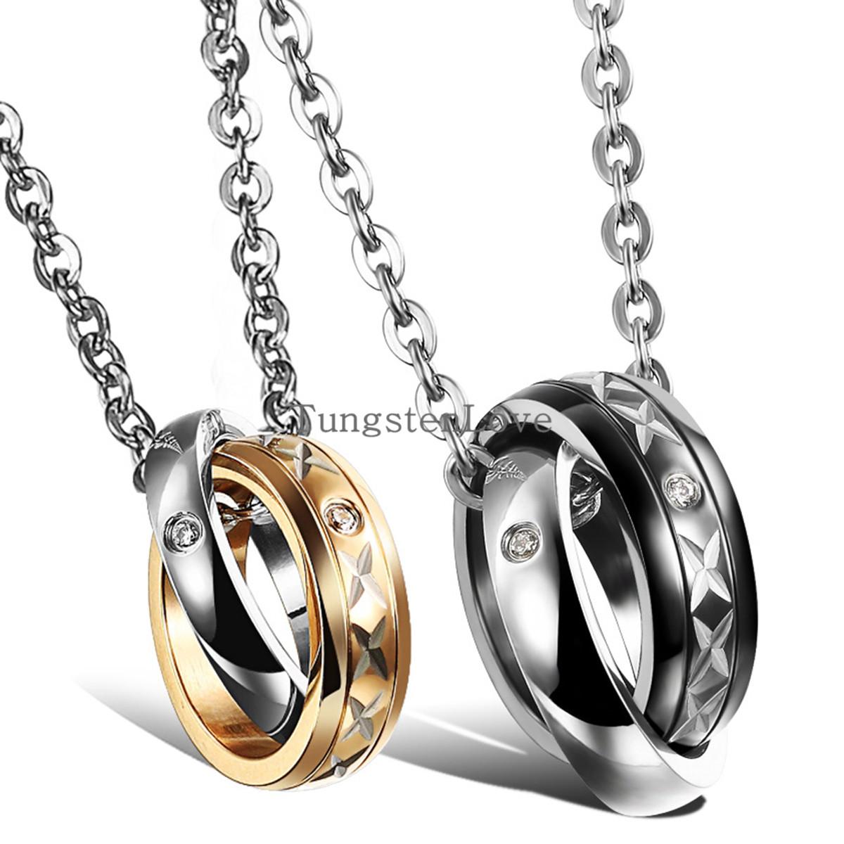 Wholesale Fashion Jewelry Couples Lovers Titanium Steel Zircon Two Circles Pendant Necklace Men Women Gold & Black collares 2015(China (Mainland))
