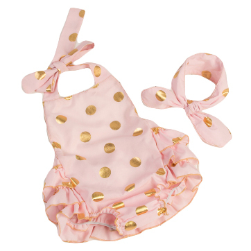 New arrival baby girls fashion bubble rompers pink gold dot print toddler children cotton romper clothing 0-3years(China (Mainland))
