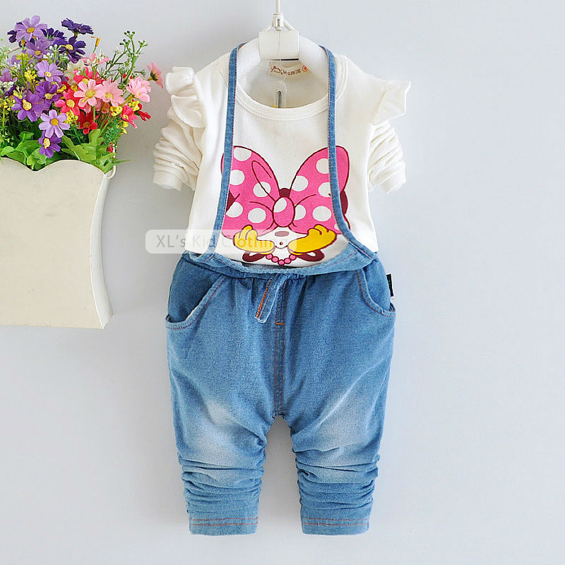Denim Overall & long sleeve T-shirt 2015 minnie baby girl clothes kid toddler girl clothing sets spring autumn children clothing(China (Mainland))