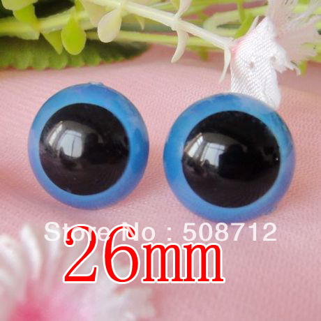 fress ship!!!100pcs/lot 26mm blue color pupil toy eyes/ safety eyes with PLASTIC lock-washers/Doll toy doll eyes(China (Mainland))