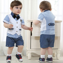 Buy 2017 spring kids clothes gentleman suits 3pcs vest + T shirt + pants plaid bow shorts summer boys clothing set children clothes for $10.69 in AliExpress store
