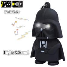 G0110-White Hot ! White Light LED Flashlight Star War Anakin Skywalker Darth Vader Action Figure Toys With Sound Keychains