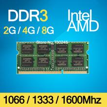 Ddr3 1066 Mhz / 1333 Mhz / 1600 Mhz 2 GB / 4 GB / 8 GB 204-Pin Brand New Sealed SODIMM mémoire Ram Memoria pour pc portable à vie(China (Mainland))