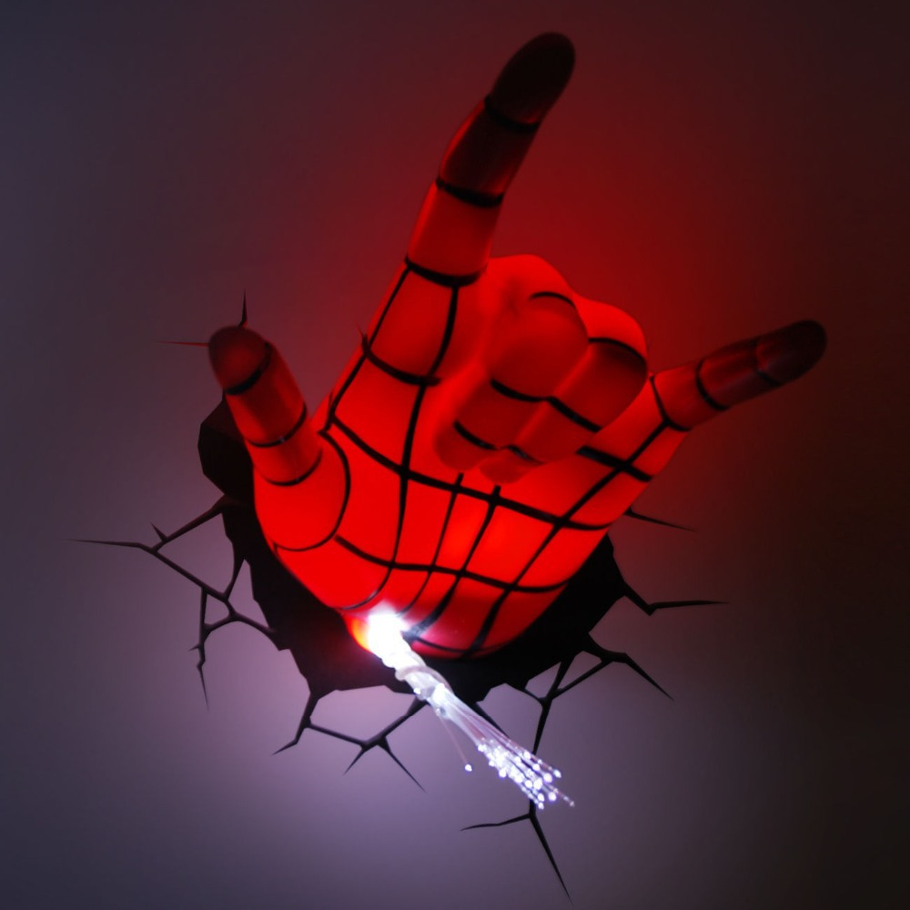 Marvel Night Lights Wall : Marvel Avengers Spider Man Hand 3D Deco Wall LED Night Light Art FX Room Decor
