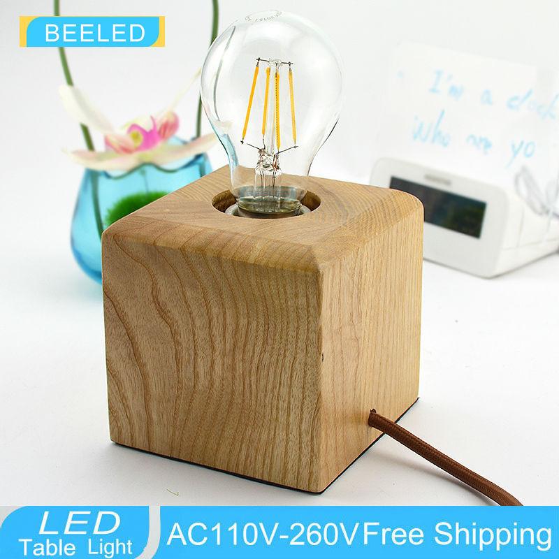 Square Lampshade Oak wood Europe Plug Solid wood Table Lamp Oak Wood North Europe Style Living Room Bedroom Decor Lighting(China (Mainland))