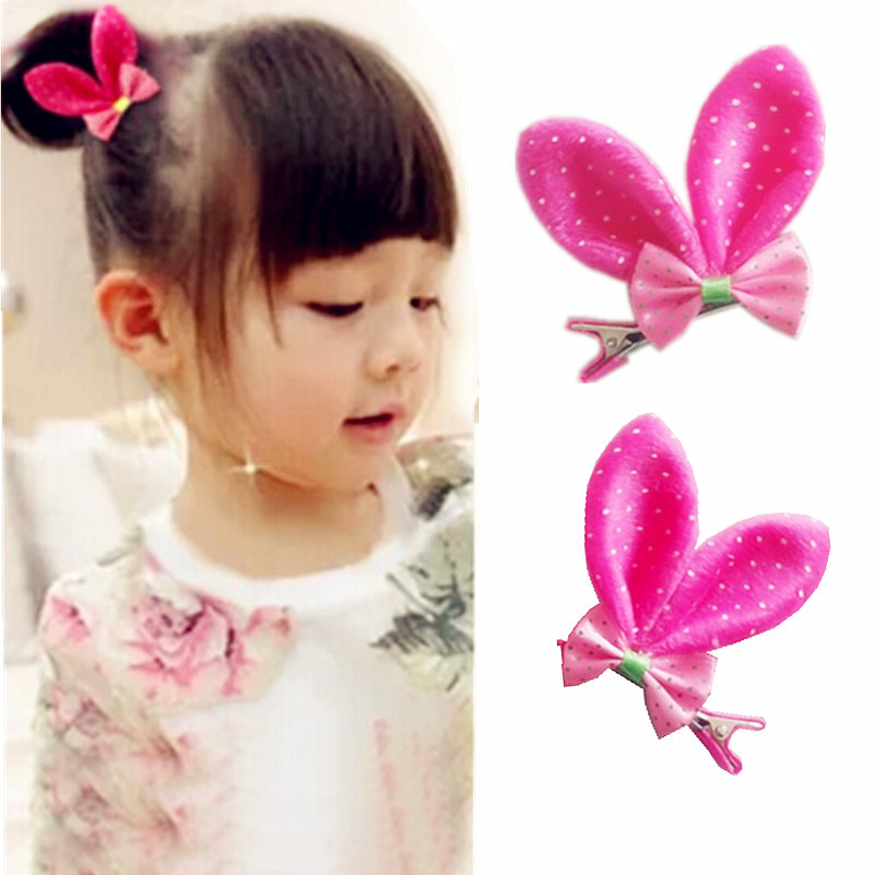 Girl Baby Hair Clips Kawaii Rabbit Ear Hair Clip Cute Hairpins Fashion Kids Clips Barrettes Accessories Pink/Blue/Gold/Red(China (Mainland))