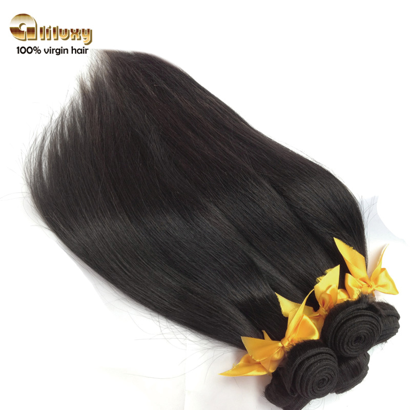 product 6A Virgin Peruvian atraight hairQueen human hair weaveVirgin hair straight 8-30inchescolor 1b#2pcs/lot