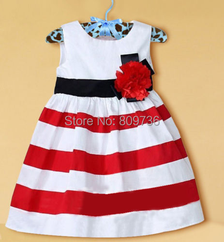 Free shipping 2014 Kids Red Flower Stripe Summer Baby Girls Sleeveless Princess Dress Fashion Baby Dress Drop Free Ship(China (Mainland))