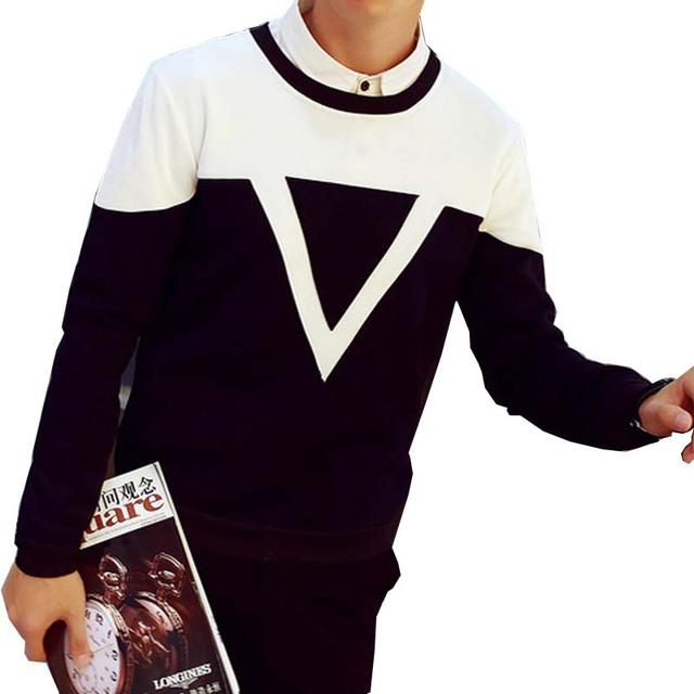 Мужчины свободного покроя щедрый футболка напечатанная письмом мода с длинным рукавом Moleton 2016 новый S-5XL все-матч толстовки шею тонкие Felpe