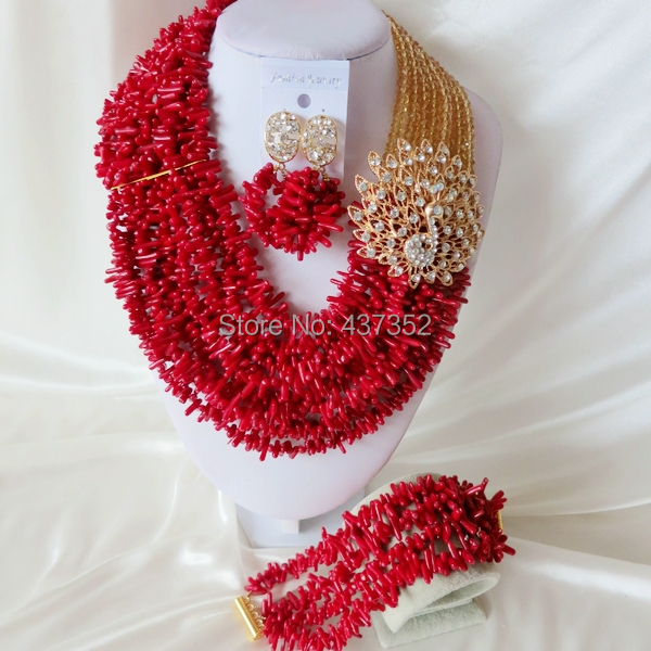 Handmade Nigerian African Wedding Beads Jewelry Set , Champagne Gold Crystal Coral Beads Necklace Bracelet Earrings Set CWS-418