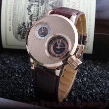 2015 New Fashion Casual Hot Sale Design Two Dual Dial Leather Men Women Quartz Dress Wrist Watch Gift 0911