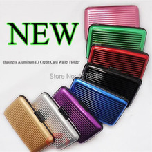 10colors Aluminum Metal Waterproof Box Case Business ID Credit Card Holder Wallet Hot Selling ,40pcs Free DHL/Fedex(China (Mainland))