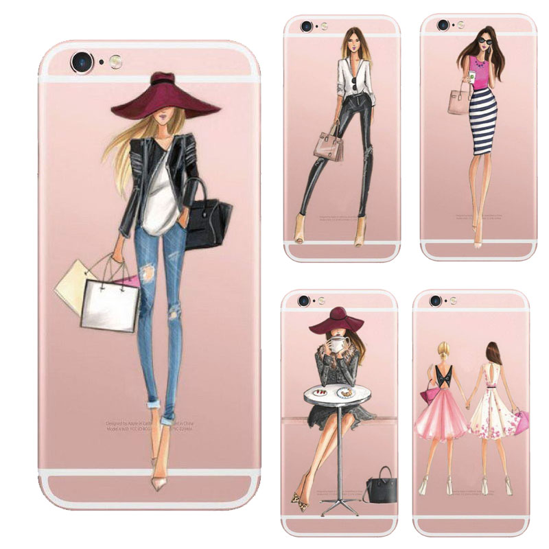 Fashionable Dress Shopping Girl Case For Apple iPhone 6 6s Transparent Clear TPU Phone Cover Soft Silicon coque(China (Mainland))