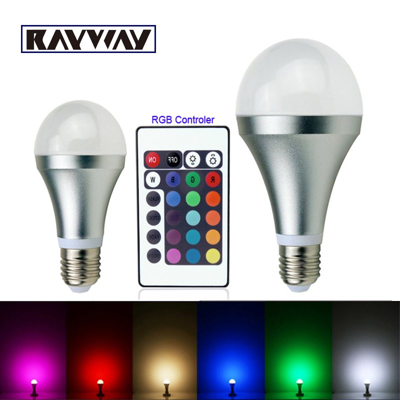 10pcs/lot factory supplier 3w 10w e27 rgb led light bulb lamp spotlight with IR remote control for color changing free shipping(China (Mainland))