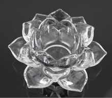 Free fast shipping+elegant clear crystal lotus candle holder for home &wedding decoration(China (Mainland))