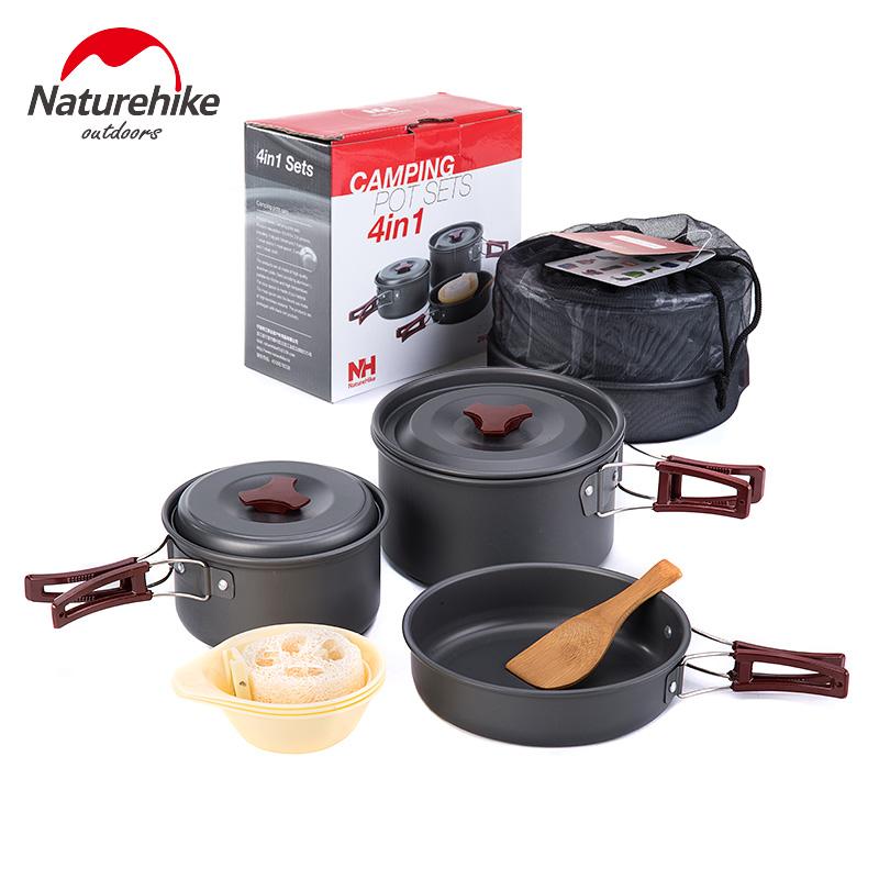 Aluminium Alloy Cubiertos Camping Pots Picnic Set Cookware Outdoor Pot Camping Cooking Set(China (Mainland))