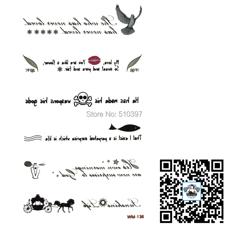 Lot wm 136 temporary english words tattoo finesse shank english words