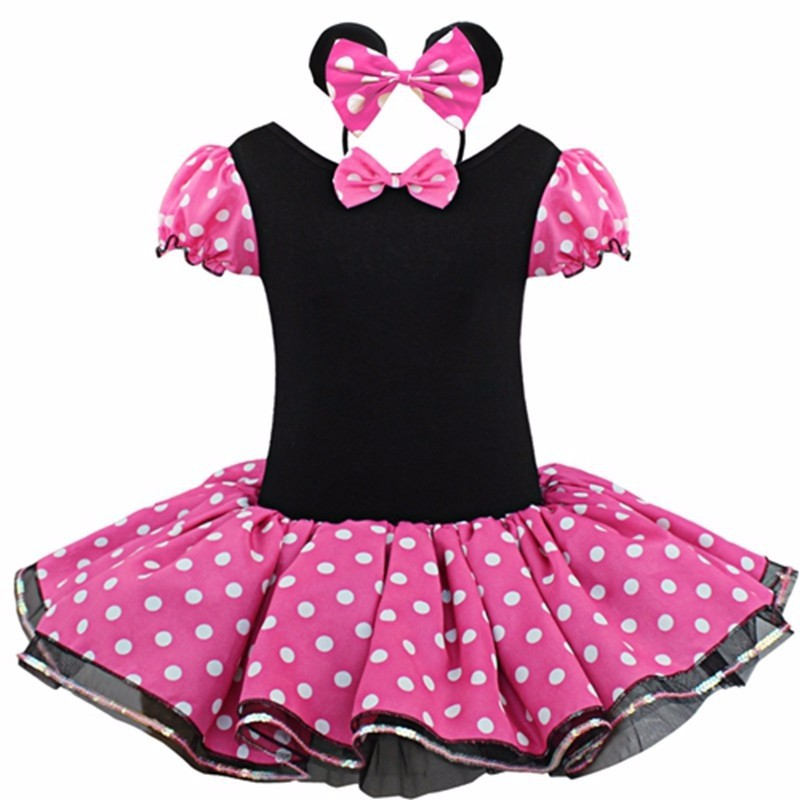 2016 Kids Gifts Minnie Mouse Party Fancy Costume Cosplay Girls Ballet Tutu Dress+Ear Headband Girls Polka Dot Dress Clothes Bow(China (Mainland))