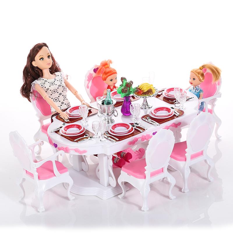 Online kopen wholesale barbie eettafel uit china barbie for Poppenhuis voor barbie