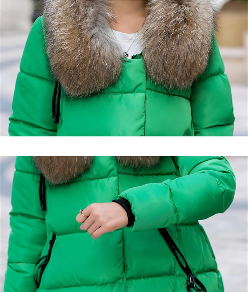 Скидки на Новая Мода Зимняя Куртка Женщины Длинные хлопок пуховик Пальто Плюс Размер Куртка Дамы С Капюшоном Теплая Верхняя Одежда Хлопок пальто