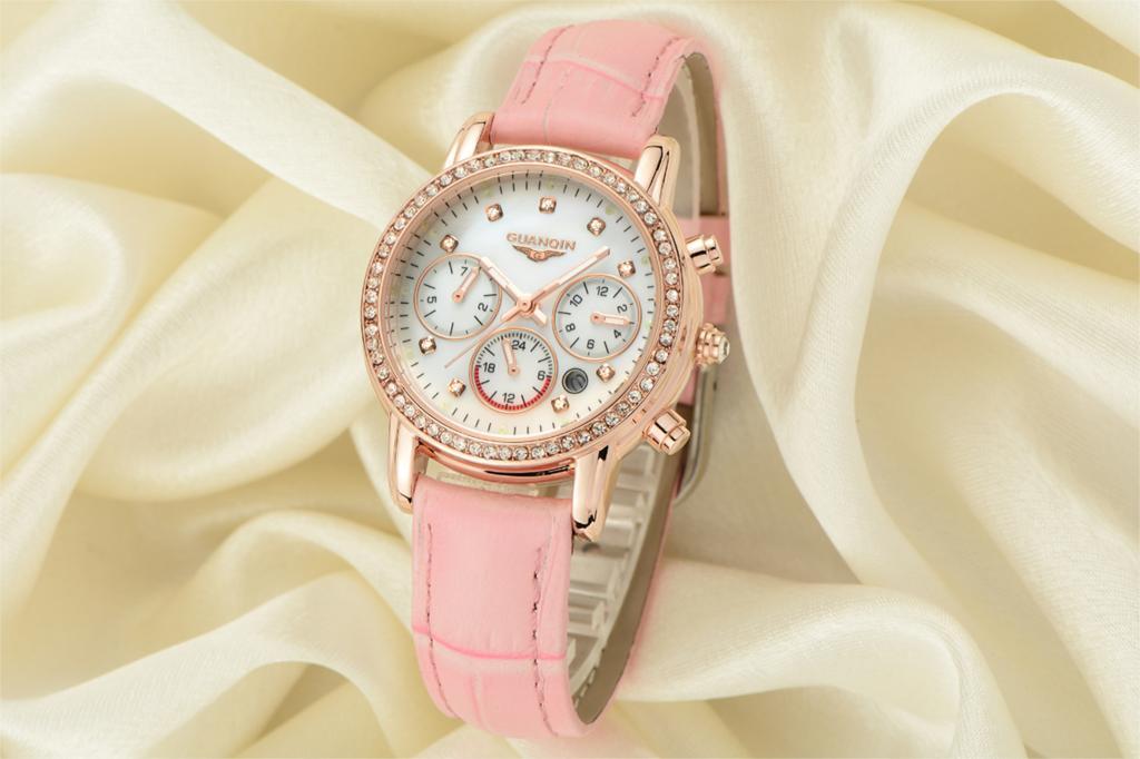 Brand GUANQIN women's watches quartz watch women quartz-watch crystal vintage relogio feminino classic sapphire leather