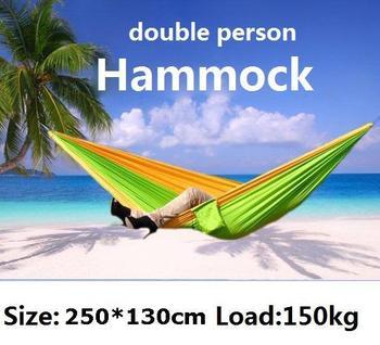 Выживание кемпинг двухместный гамак гамак парашютом ткань для внутреннего и наружного 250 * 130 см 1 компл.