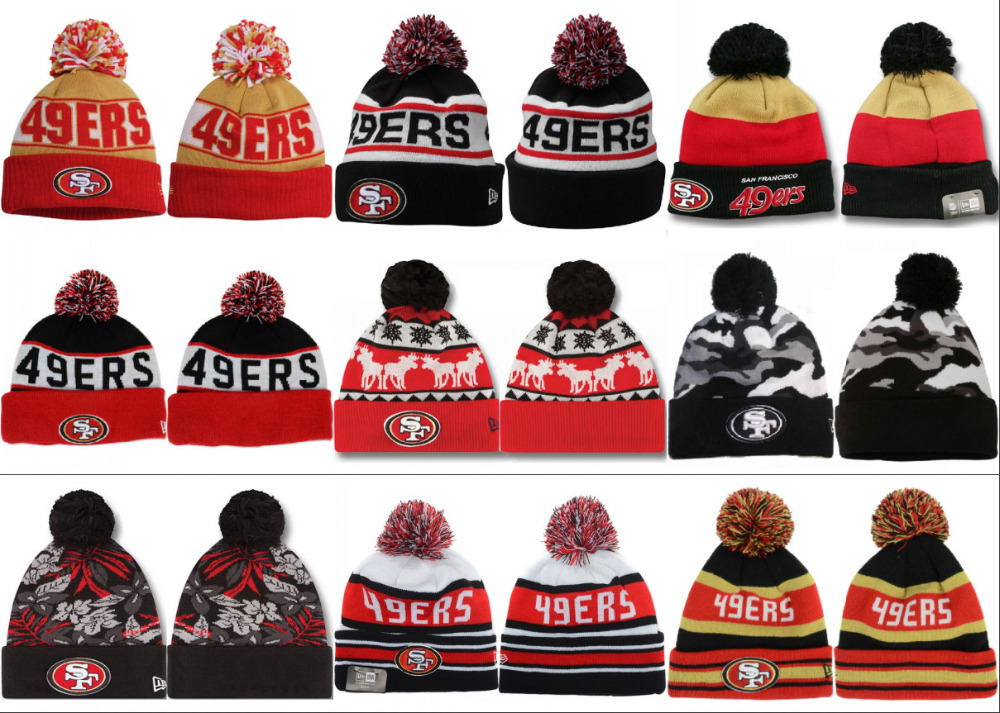 Free fast shipping Best Quality nfl cap all team San Francisco 49ers Knit Hats 24 colors 49ers Beanie HATS(China (Mainland))