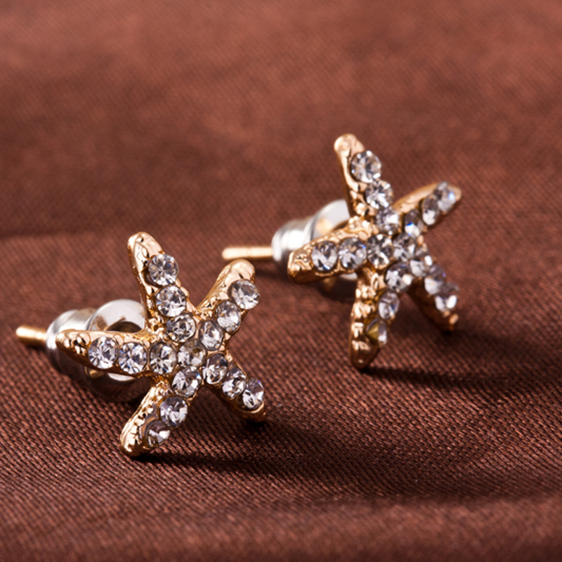 Fashion Jewelry Wholesale Factory Supplier CZ Diamond Rhinestone Crystal Star Stud Earrings For Women e0139(China (Mainland))