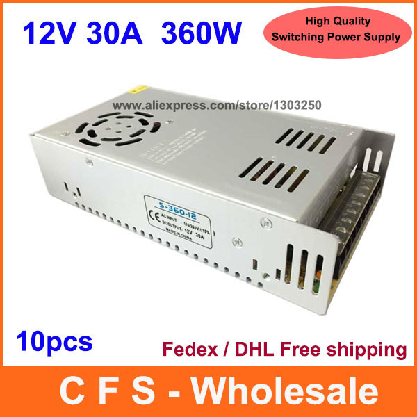 12V 30A DC 360W Universal Regulated Switching Power Supply 12V 30A LED Driver High Quality 10pcs /Lot Fedex / DHL Free shipping(China (Mainland))
