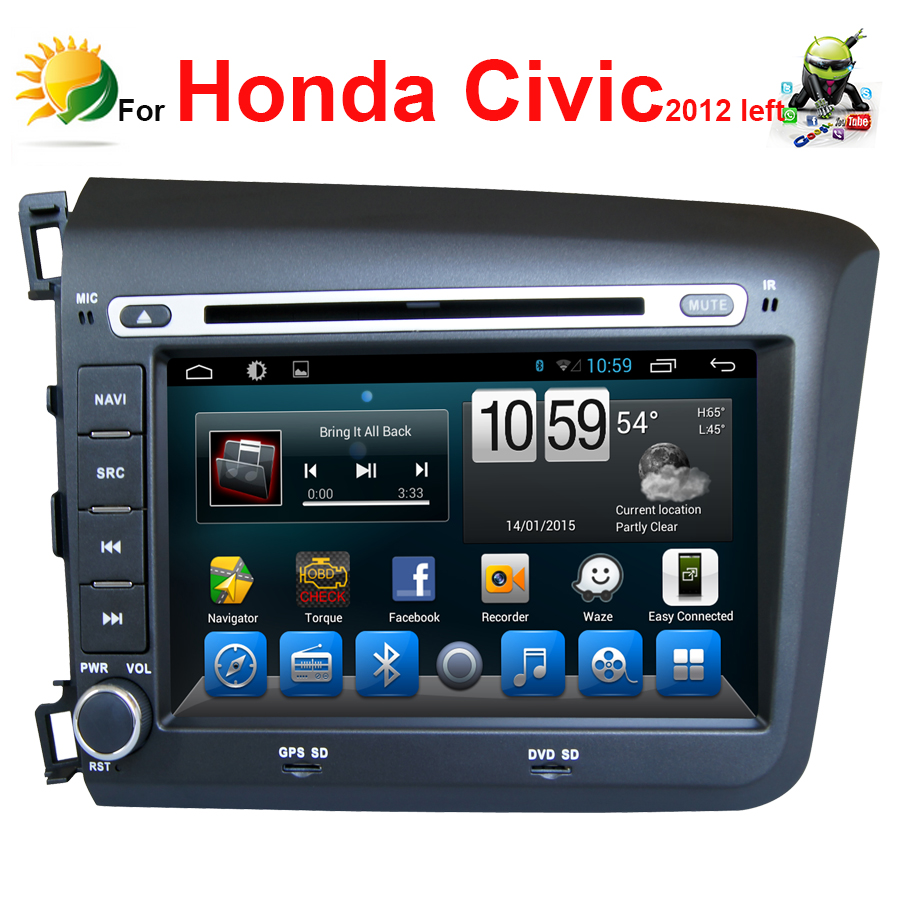 Android 4.4 touch screen car radio for Honda Civic 2012 bluetooth navigation wifi gps 3g 2 din 8 inch Headrest car dvd player(China (Mainland))