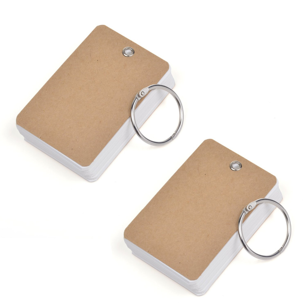 Pack of 2 Binder Ring Easy Flip Flash Cards Study Cards, 80 Unruled Blank White Pages(China (Mainland))