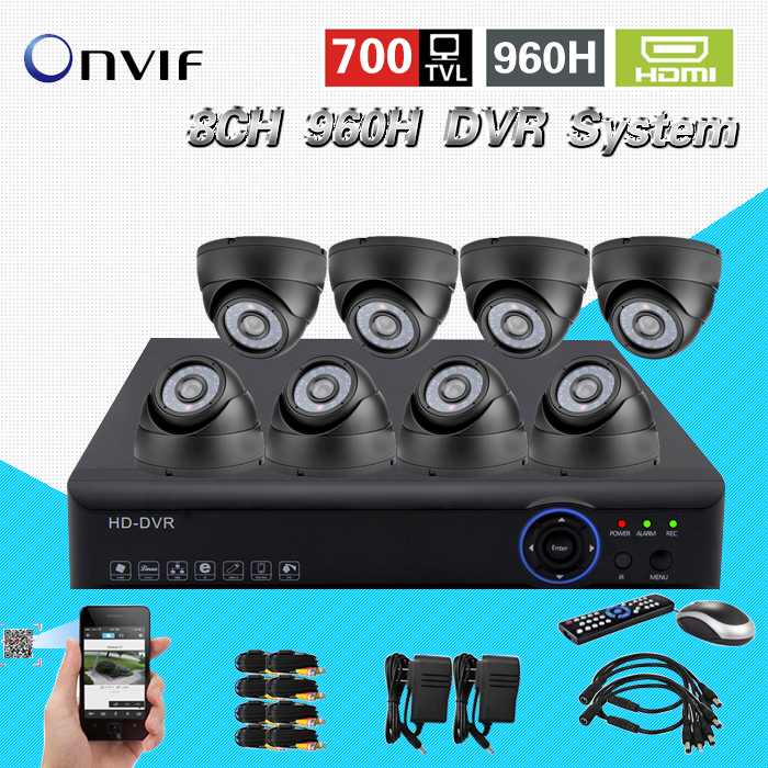 TEATE 700TVL HD home Surveillance System 8CH Full 960H H.264 3g DVR Kit CCTV dome Weatherproof Security camera System 8ch CK-131(China (Mainland))