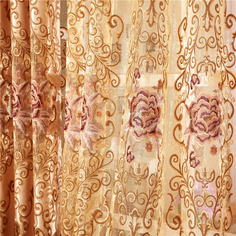 Chinese Deluxe Royal Queen flower embroidery large curtains for the bedroom or living room window windows five-star hotel(China (Mainland))