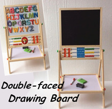 Free Shipping! Double Faced Educational Wooden Blackboard Multifuncational Baby Learning&Education Drawn Board Drawing Toys Gift(China (Mainland))