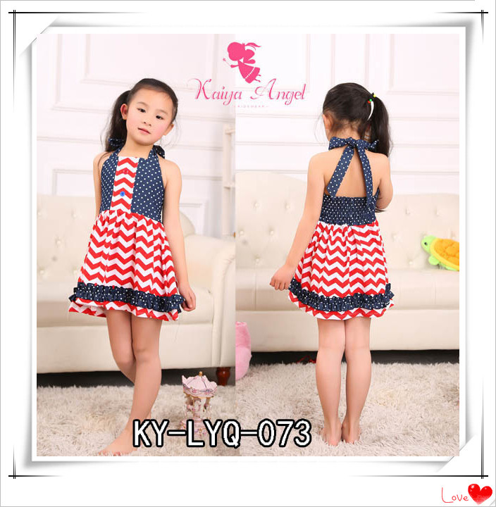 Kaiya 2015 New Arrival Girls Dress 1 PCS Free Shipping Patriotic Day kids Dress Cute Baby Dress(China (Mainland))