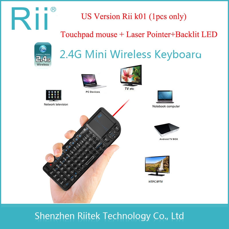 Rii mini k01 2.4G Wireless Keyboard Touchpad mouse Laser pointer Backlit Combo for Tablet Andorid TV Box Mini PC Teclado sem fio(China (Mainland))