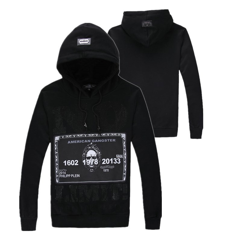 2015 male Men pullover with a hood thickening sweatshirt slim three-dimensional pp beading skull free shipping(China (Mainland))