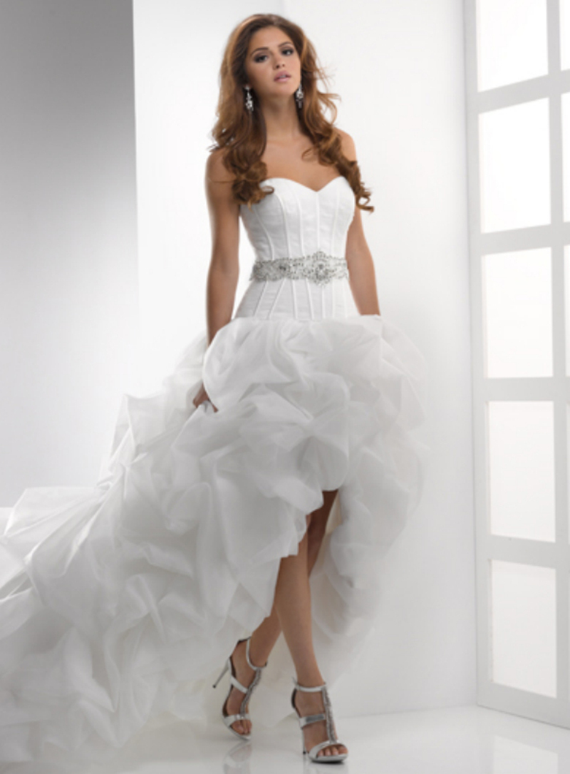 Designer sweetheart beaded belt puffy organza short front for Short sweetheart wedding dress