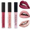 Brand FOCALLURE Liquid Lipgloss Nude Matte Glitter Metallic Lipstick Makeup Moistourzing Cosmetics Metal Lips Lip