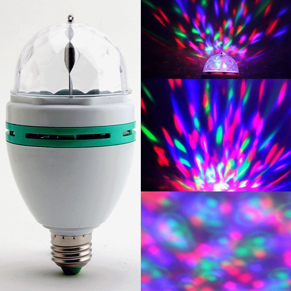 USA Delivery 3W E27 RGB Crystal Ball Rotating LED Stage Light Bulb for Club DJ Disco Party(China (Mainland))