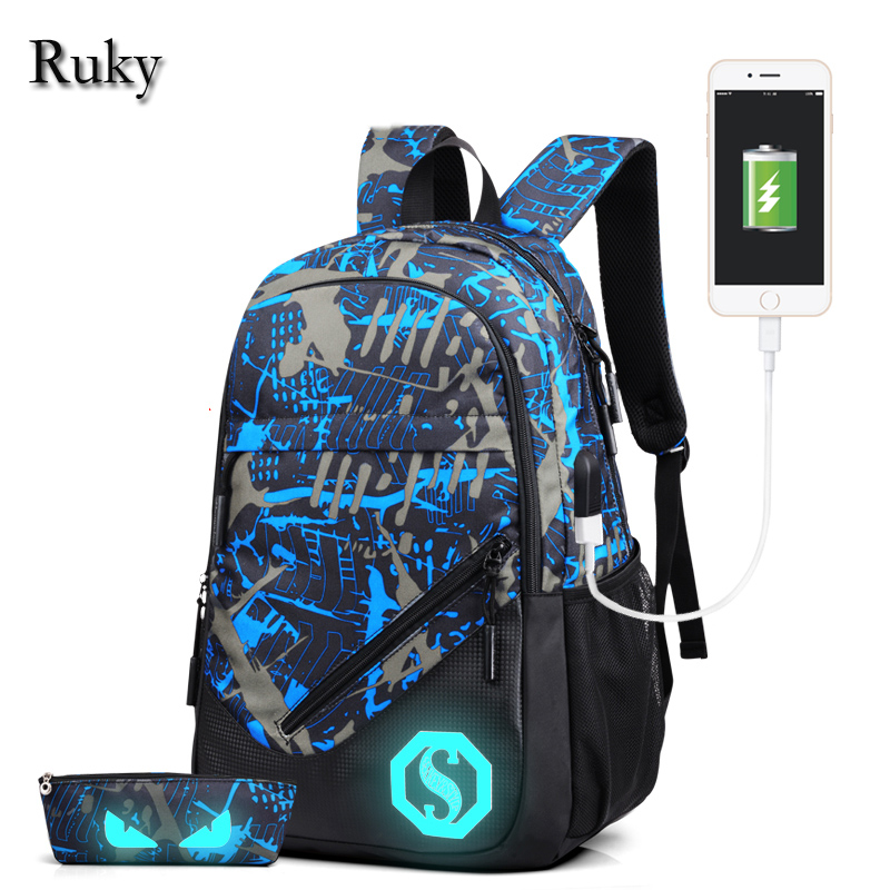 New Design USB Charging Men's Backpacks Male Casual Travel Luminous Mochila Teenagers Women Student School Bags Laptop Backpack(China (Mainland))