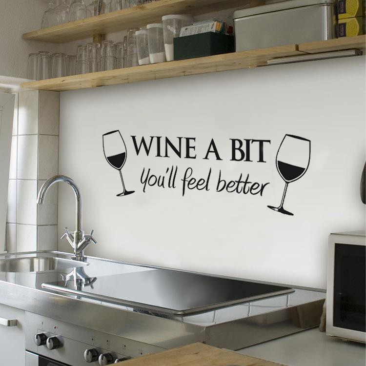 Free Shipping Wine A Bit Vinyl Wall Art Wall Quote Sticker ...