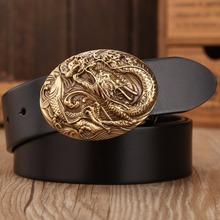 Buy 2017 dragon hot designer belt men high vegetable tanned full grain cowhide 100% genuine leather luxury tiger solid brass for $22.77 in AliExpress store