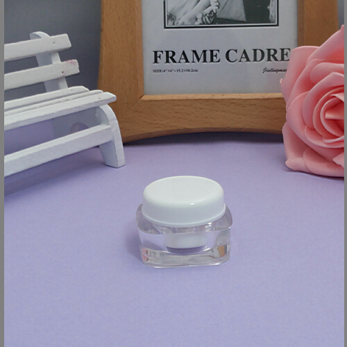 100pcs wholesale 5 grams square white acrylic cream jars , 5 g sample containers for cosmetics ,5g mini sample jars for sale(China (Mainland))